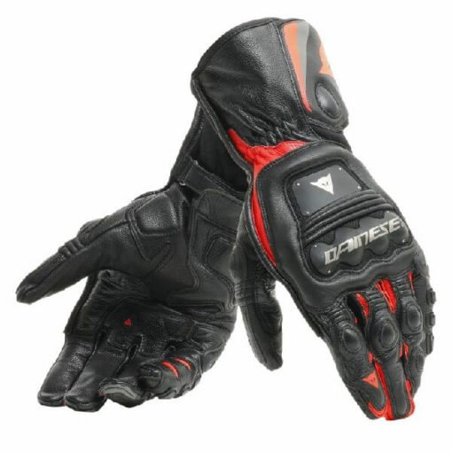 Dainese Steel Pro In Black Fluorescent Red Riding Gloves