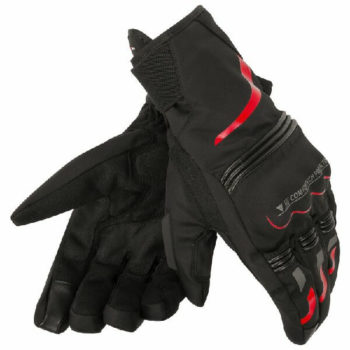 Dainese Tempest Unisex D Dry Short Black Red Riding Gloves