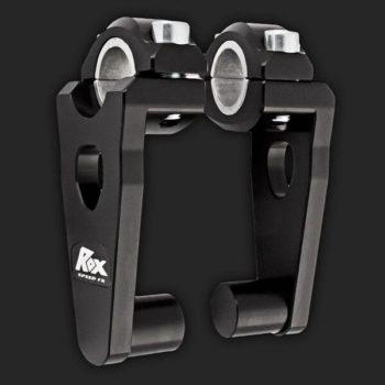 Rox Pivoting Handlebar Risers 76mm Rise 22 28mm Handlebar Anodized Black