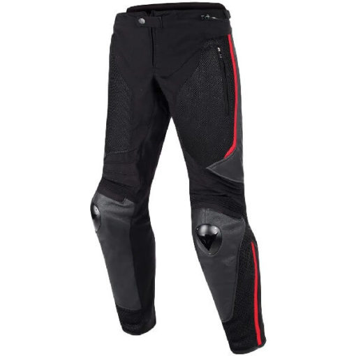 Dainese Mig Leather Textile Black Red Riding Pants