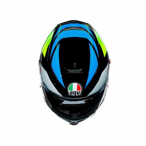 AGV K5 S Core Gloss Black Cyan Fluorescent Yellow Full Face Helmet 3