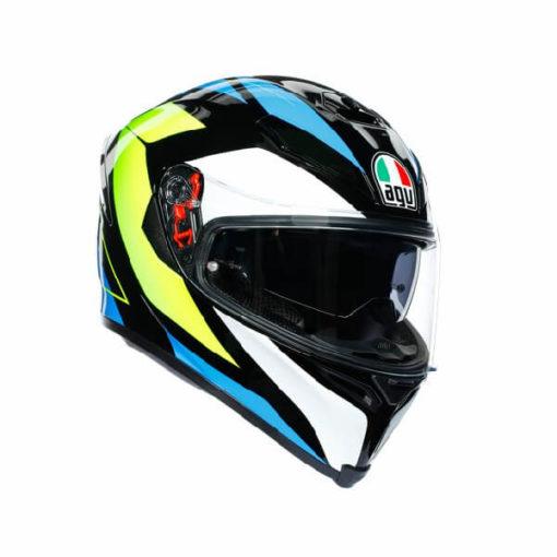 AGV K5 S Core Gloss Black Cyan Fluorescent Yellow Full Face Helmet
