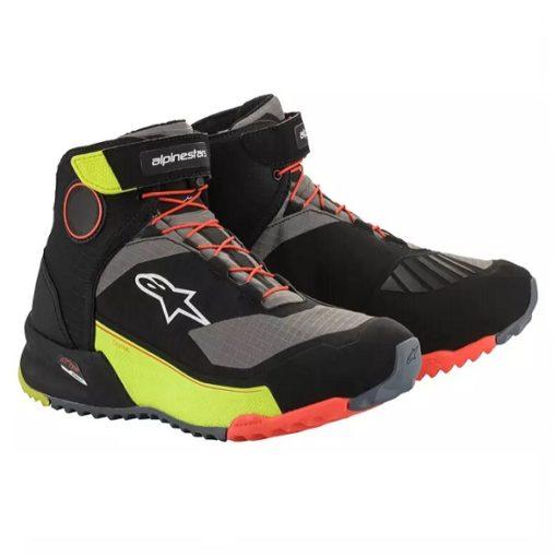 Alpinestars CR X Drystar Black Fluorescent Yellow Fluorescent Red Riding Shoes