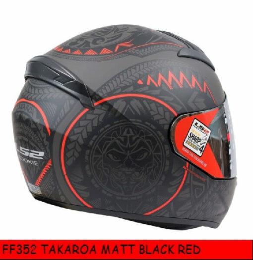 LS2 FF352 Rookie Takora Matt Black Red Full Face Helmet 1
