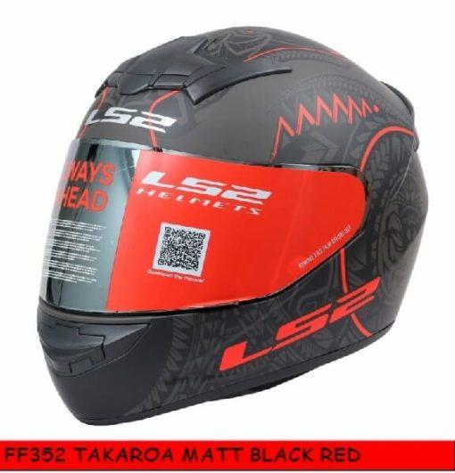 LS2 FF352 Rookie Takora Matt Black Red Full Face Helmet