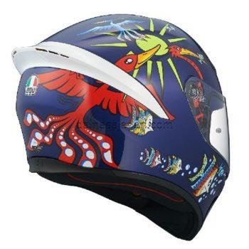 AGV K1 Top White Zoo Blue Gloss Blue Yellow Green Red Full Face Helmet 1