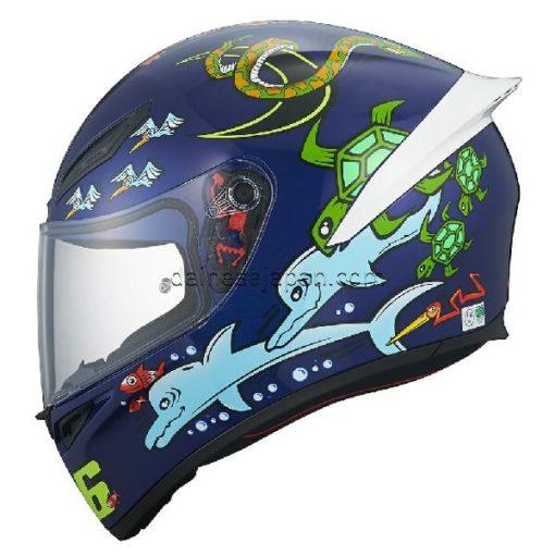 AGV K1 Top White Zoo Blue Gloss Blue Yellow Green Red Full Face Helmet 3