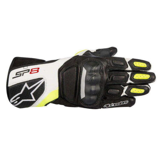 Alpinestars SP8 V2 Black White Fluorescent Yellow Riding Gloves