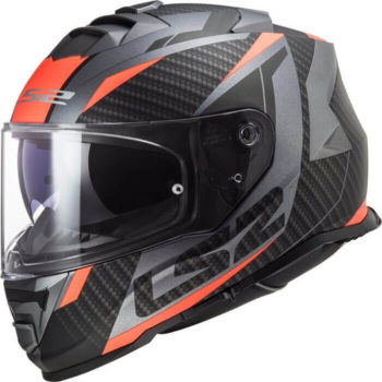 LS2 FF800 Storm Racer Gloss Titanium Fluorescent Orange Full Face Helmet
