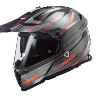 LS2 MX436 Pioneer Evo Knight Matt Titanium Fluorescent Orange Dual Sport Helmet