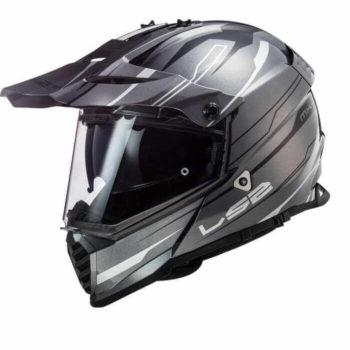 LS2 MX436 Pioneer Evo Knight Matt White Titanium Dual Sport Helmet