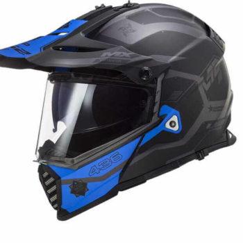 LS2 MX436 Pioneer Evo Matt Cobra Black Grey Blue Dual Sport Helmet