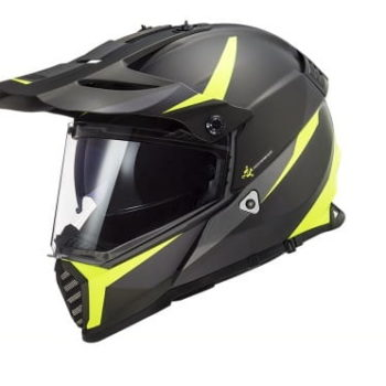 LS2 MX436 Pioneer Evo Router Matt Black Fluorescent Yellow Dual Sport Helmet