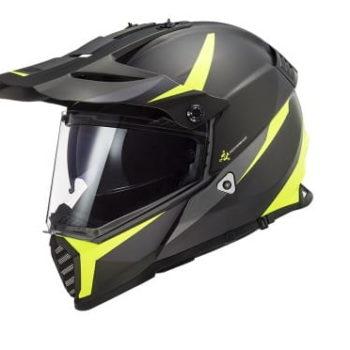 LS2 MX436 Pioneer Evo Router Matt Black Fluorescent Yellow Dual Sport Helmet