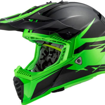 LS2 MX437 Fast Evo Roar Matt Black Green Motocross Helmet 1
