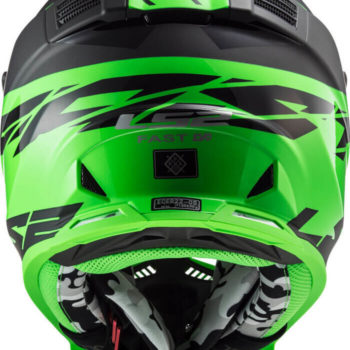 LS2 MX437 Fast Evo Roar Matt Black Green Motocross Helmet