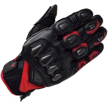 RS Taichi High Protection Leather Black Red Riding Gloves 1