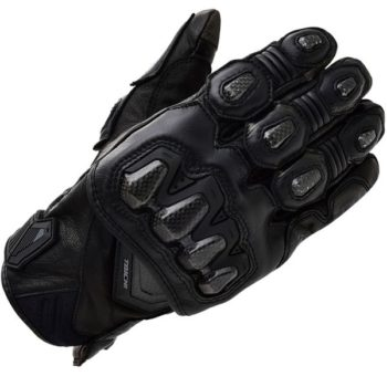 RS Taichi High Protection Leather Black Riding Gloves 1