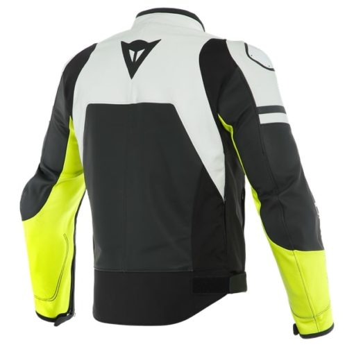 Daines Agile Perforated Leather Matte Black White Fluorescent Yellow Riding Jacket 2