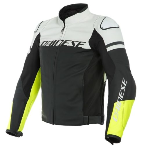 Daines Agile Perforated Leather Matte Black White Fluorescent Yellow Riding Jacket