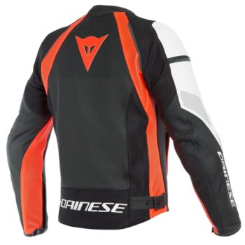 Dainese Nexus Perforated Leather Black Fluorescent Red White Riding Jacket 2