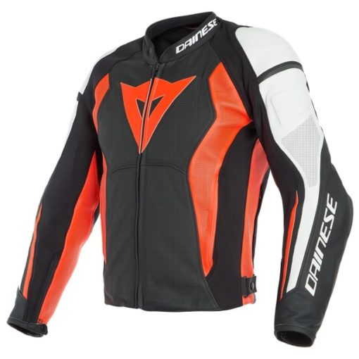 Dainese Nexus Perforated Leather Black Fluorescent Red White Riding Jacket
