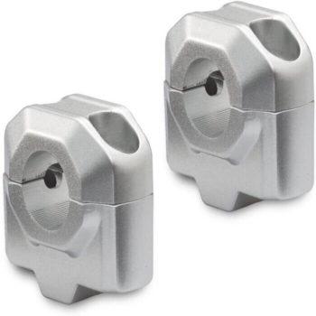 SW Motech 25mm Handlebar Risers for 22mm Handlebars Silver
