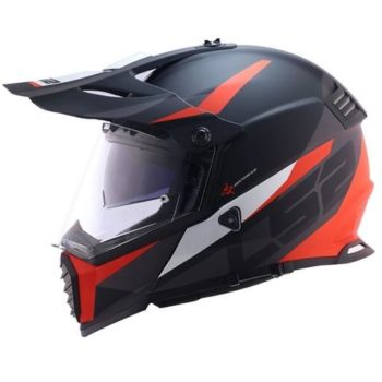 LS2 MX436 Pioneer Router Evo Matt Black Red Dual Sport Helmet