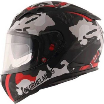 AXOR STREET CAMO Matt Black Red Full Face Helmet 3