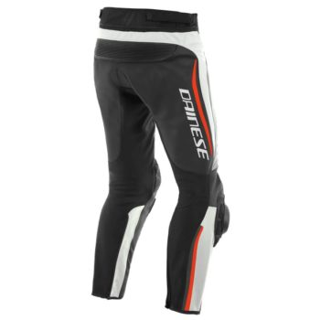 Dainese Alpha Perforated Leather White Black Fluorescent Red Riding Pants 2