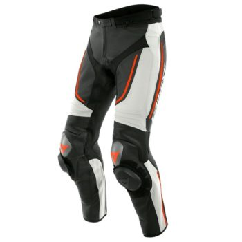 Dainese Alpha Perforated Leather White Black Fluorescent Red Riding Pants1