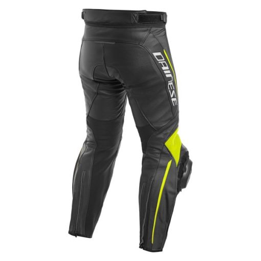Dainese Delta 3 Leather Black Fluorescent Yellow Riding Pants 1