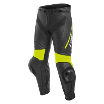 Dainese Delta 3 Leather Black Fluorescent Yellow Riding Pants