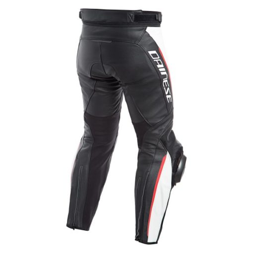 Dainese Delta 3 Leather Black White Red Riding Pants 1