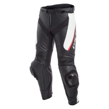 Dainese Delta 3 Leather Black White Red Riding Pants