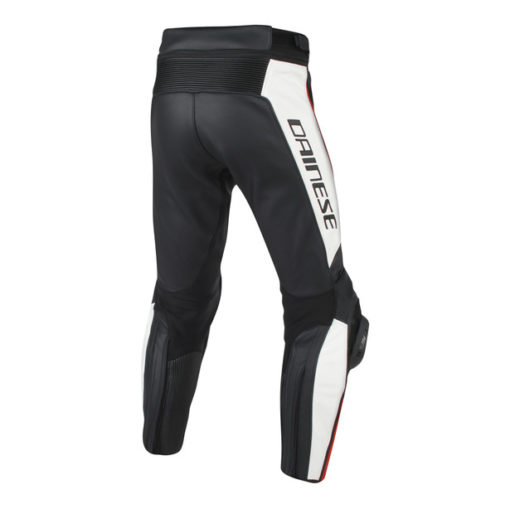 Dainese Misano Perforated Leather Black White Fluorescent Red Pants 2