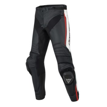 Dainese Misano Perforated Leather Black White Fluorescent Red Pants