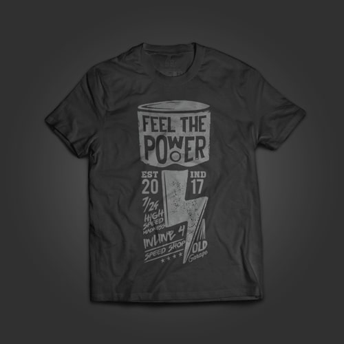 INLINE4 Feel The Power Cotton Motorcycle T shirt