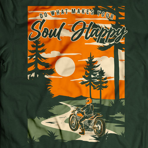 INLINE4 Soul Happy Cotton Motorcycle T shirt 2