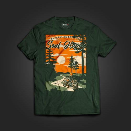 INLINE4 Soul Happy Cotton Motorcycle T shirt
