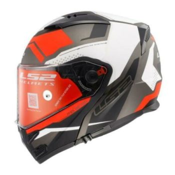 LS2 FF324 Metro Complex Matt Black White Red With Peak Flip Up Helmet
