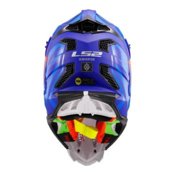 LS2 MX470 Subverter Troop Matt Gloss Blue Fluorescent Orange Motocross Helmet 1