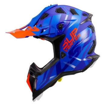 LS2 MX470 Subverter Troop Matt Gloss Blue Fluorescent Orange Motocross Helmet