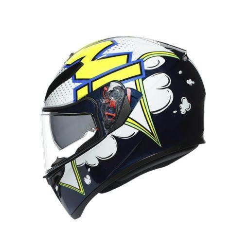 AGV K3SV Multi MPLK Gloss Bubble Blue White Fluorescent Yellow Full Face Helmet 3