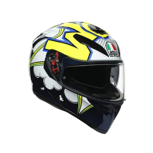 AGV K3SV Multi MPLK Gloss Bubble Blue White Fluorescent Yellow Full Face Helmet