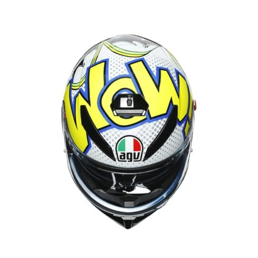 AGV K3SV Multi MPLK Gloss Bubble Blue White Fluorescent Yellow Full Face Helmet 7
