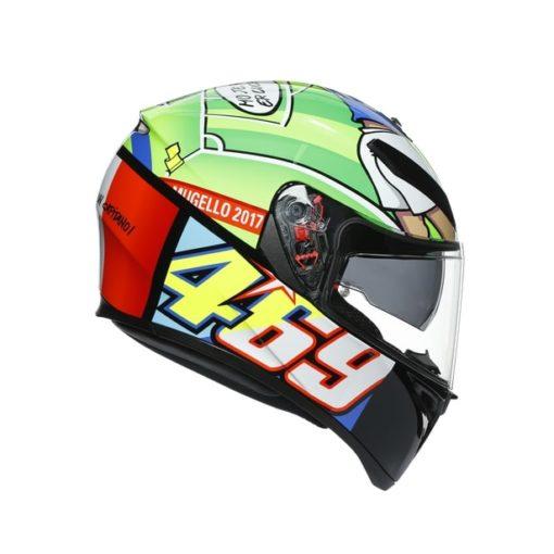 AGV K3SV Top MPLK Rossi Mugello 2017 Gloss Black Green Full Face Helmet 2