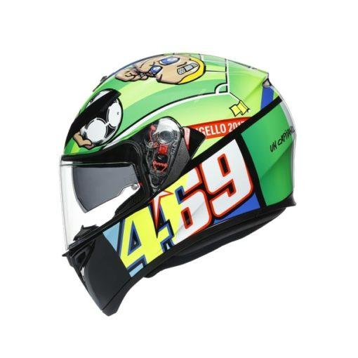 AGV K3SV Top MPLK Rossi Mugello 2017 Gloss Black Green Full Face Helmet 3