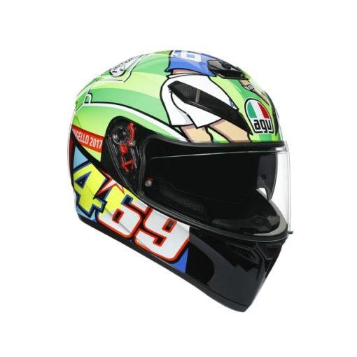 AGV K3SV Top MPLK Rossi Mugello 2017 Gloss Black Green Full Face Helmet 8