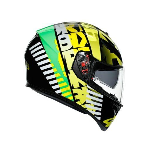 AGV K3SV Top MPLK Tribe 46 Gloss Black Yellow Full Face Helmet 2